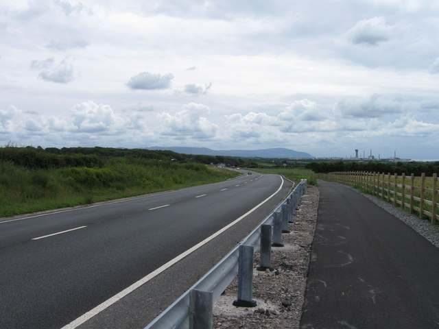 A595 with Sellafield in the distance