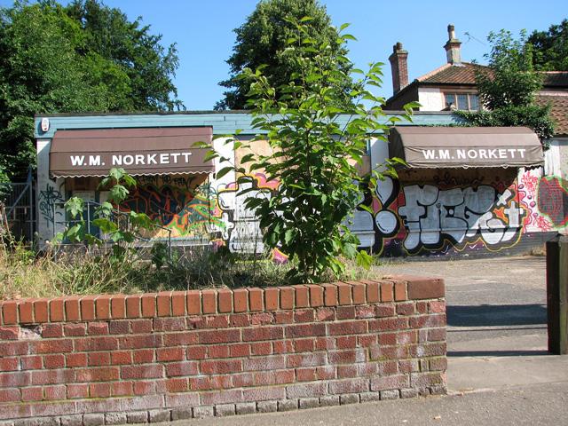 Graffiti at WM Norkett's in Unthank Road, Norwich