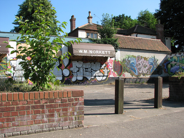 Graffiti at WM Norkett's in Unthank Road, Norwich