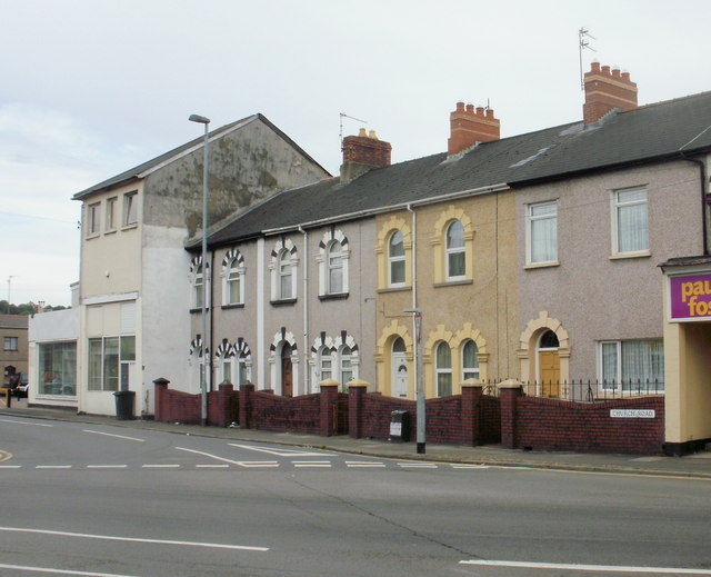 Houses at the Caerleon Road end of Church Road, Newport