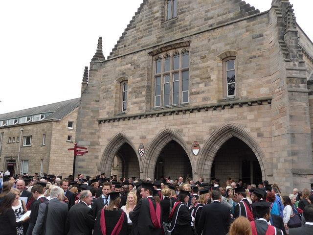 Graduates outside Elphinstone Hall, Aberdeen University