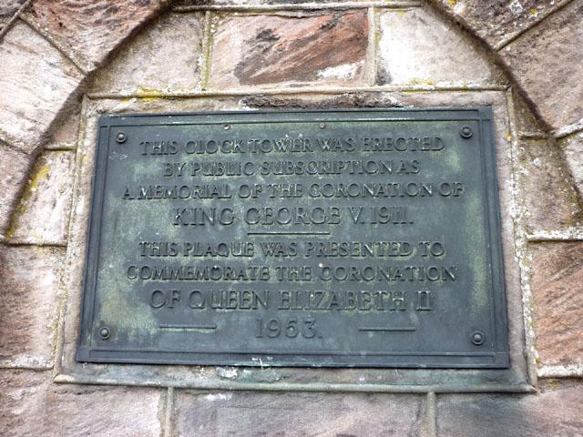 Plaque, Brough Coronation clocktower