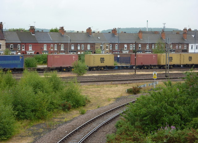 Railway lines and houses near Retford station