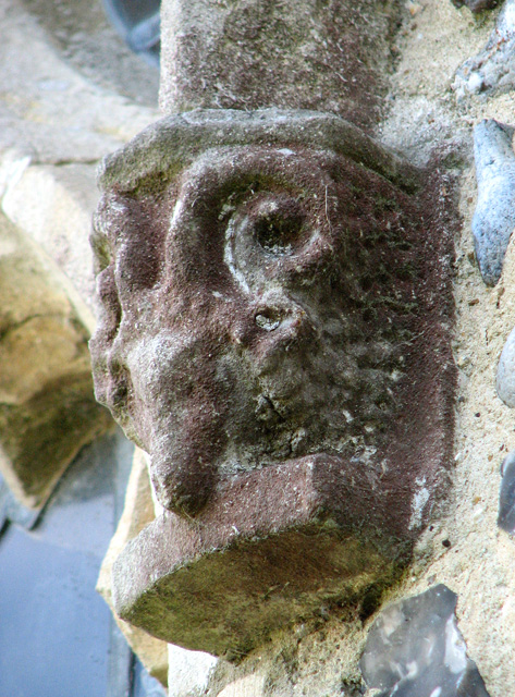 St Michael's church in Ormesby - stone sheep's face