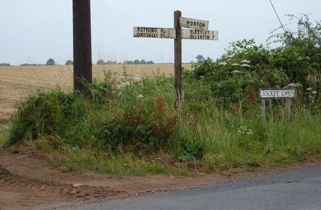 Road sign at junction on Jockey Lane
