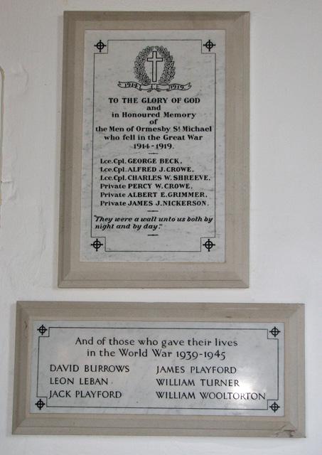 St Michael's church in Ormesby - war memorials