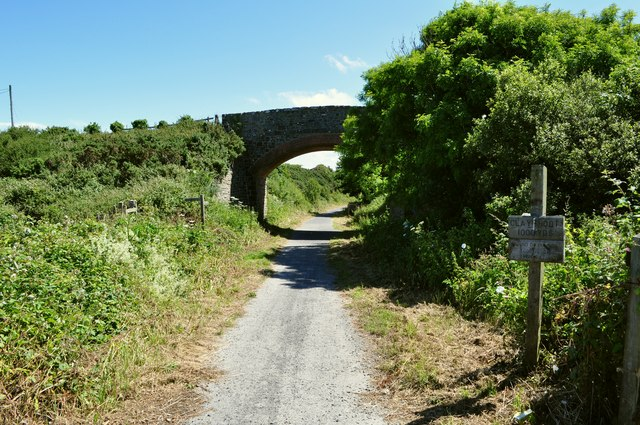 Lee Bridge crossing the route of the old railway track, now a footpath and cycle route