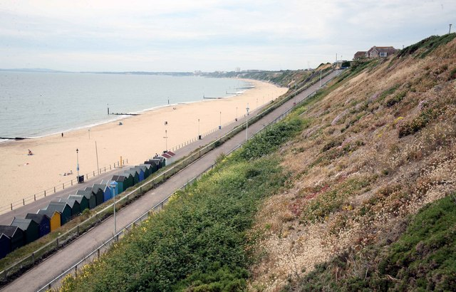 Southbourne beach with Bournemouth in the distance