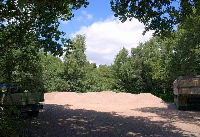 Gravel heaps in car park, Black Hill
