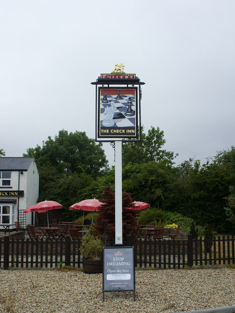 The Check Inn and its sign, Woodland View, Wroughton