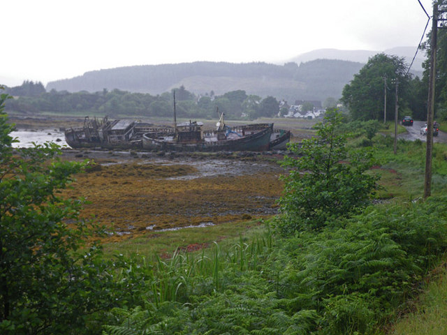 Two wrecked ships on mudflats north of Salen