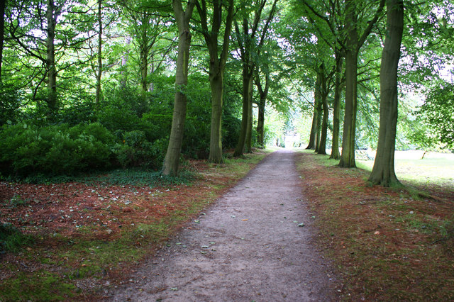 A path through the gardens of Rufford Old Hall