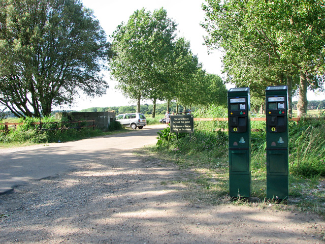 New parking meters in Lady Anne's Drive, Holkham Gap
