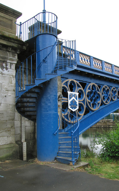 Spiral stairs on A451 road bridge