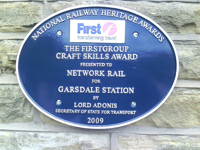 Plaque at Garsdale Station