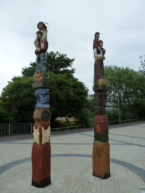 Totem poles outside Havant Tesco