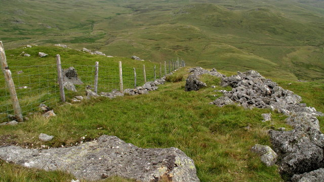 Fence and Wall Descending from Moel Llyfnant