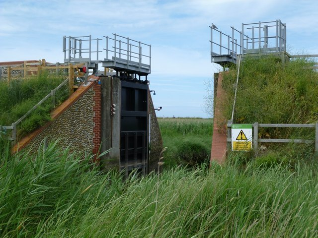 Cley: the sluice for  the Glaven tidal barrier