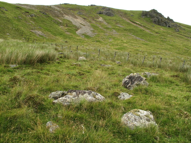 Embedded Boulders with Fence on Moel Llyfnant