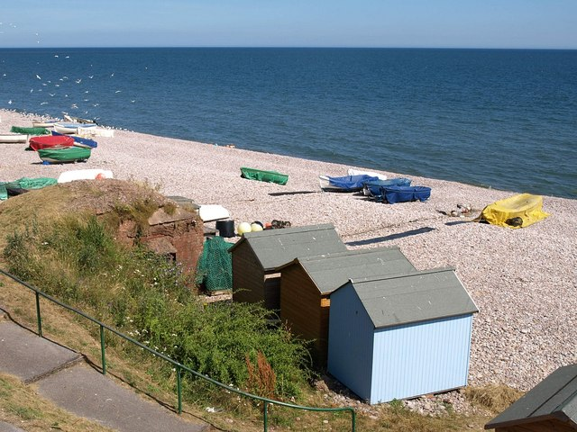 Boats and beach huts, Budleigh Salterton