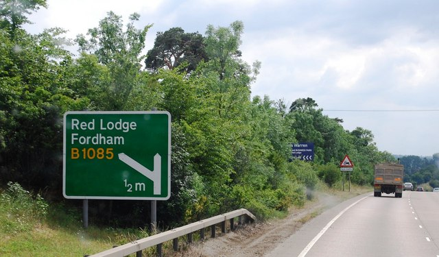 Approaching the Red Lodge and Fordham turn off, A11