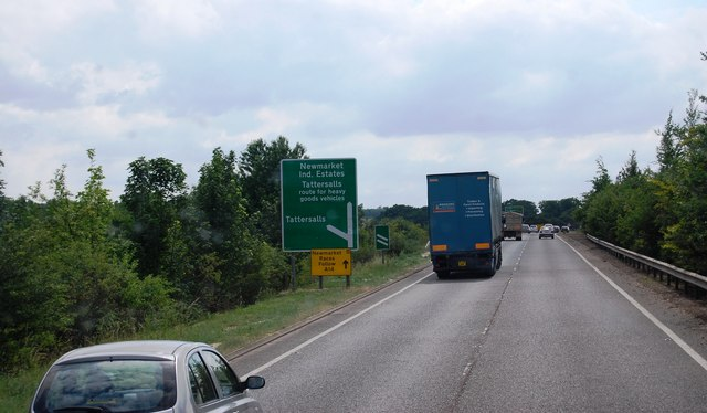 A11 approaching the Tattersall turn off near Newmarket