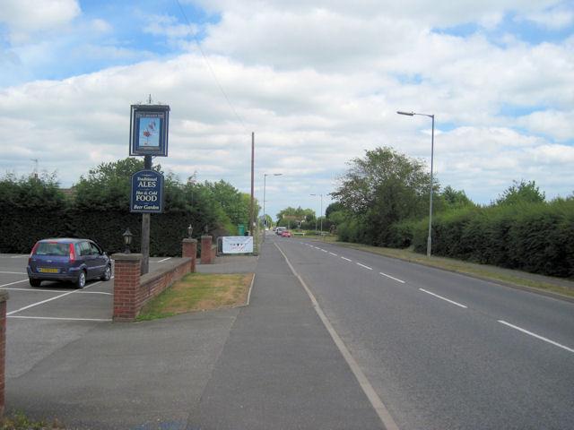 B1200 road past The Lancaster Inn