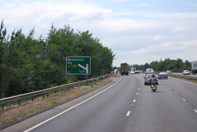 A14 Newmarket bypass approaching junction 37