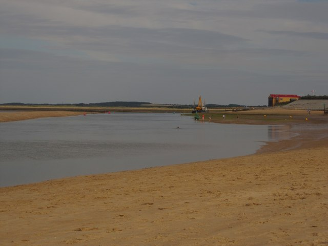 Wells next the Sea: beach and The Run, looking towards the RNLI station