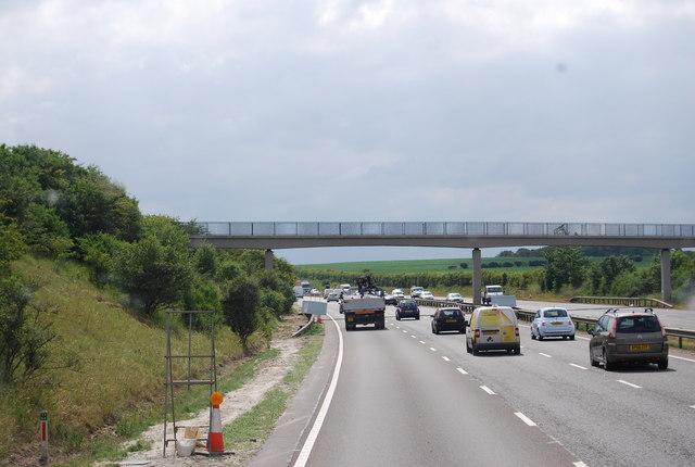 Footbridge across the A14