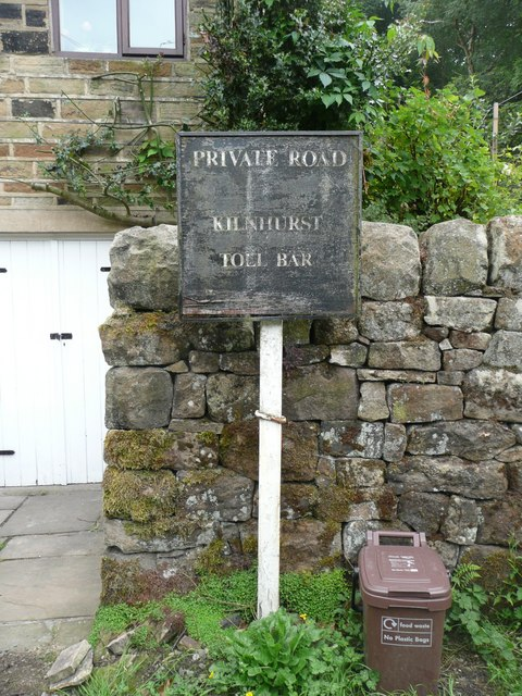Kilnhurst Toll Bar sign, Todmorden