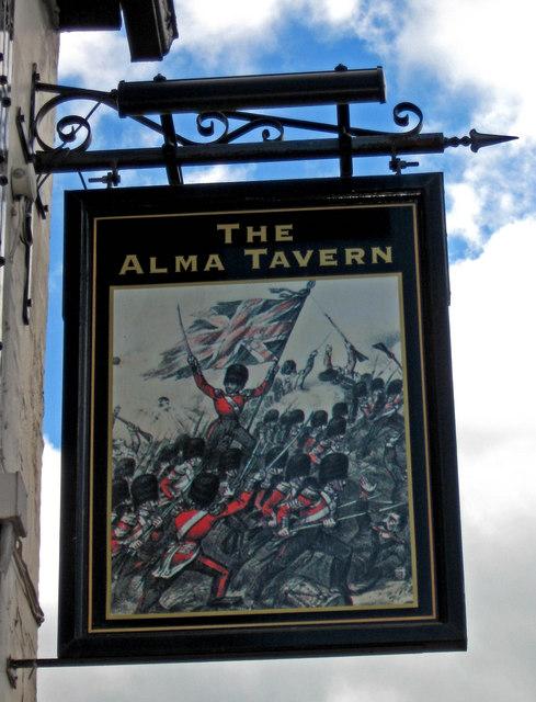 The Alma Tavern (pub sign), 74 Droitwich Road