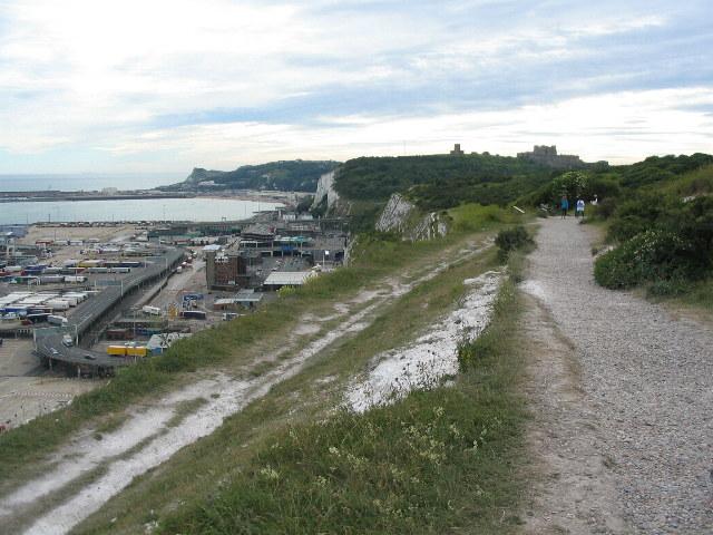 Footpath above Dover eastern docks