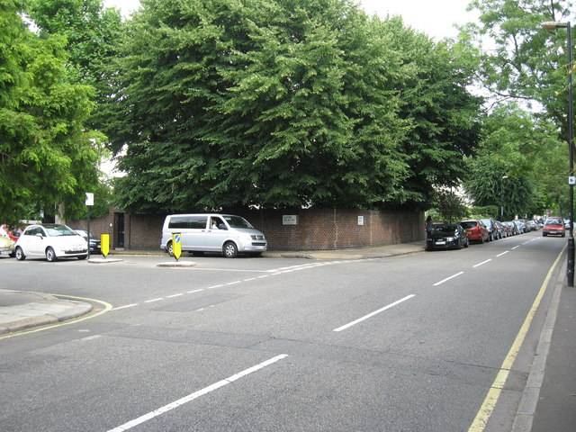 Junction of Clifton Villas with Blomfield Road, near Warwick Avenue