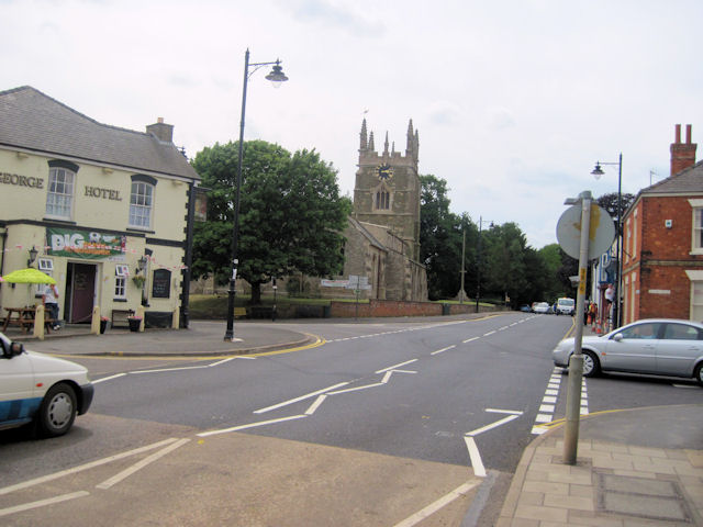 View towards George Hotel and church