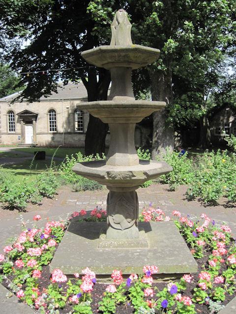 Jubilee fountain in gardens opposite Minster