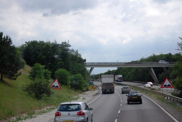 The A1303 bridge over the A11 heading south