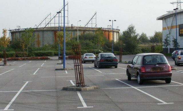 Gasholder adjacent to retail park, Newport