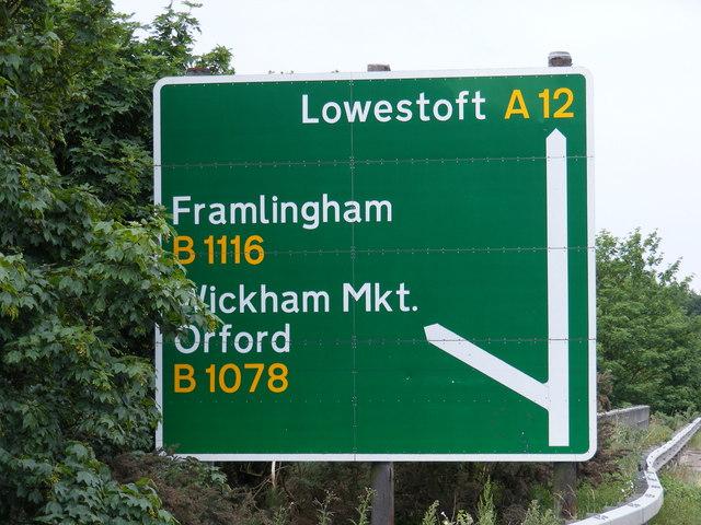 Roadsign on the A12 Wickham Market Bypass