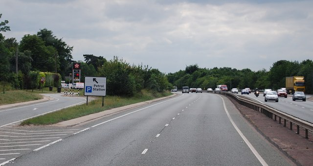 The A11 passes Worsted Lodge