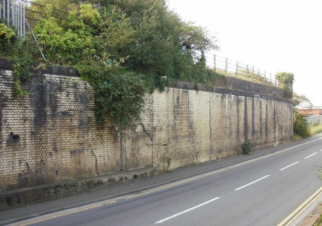 Remnants of a railway bridge, Docks Way, Newport