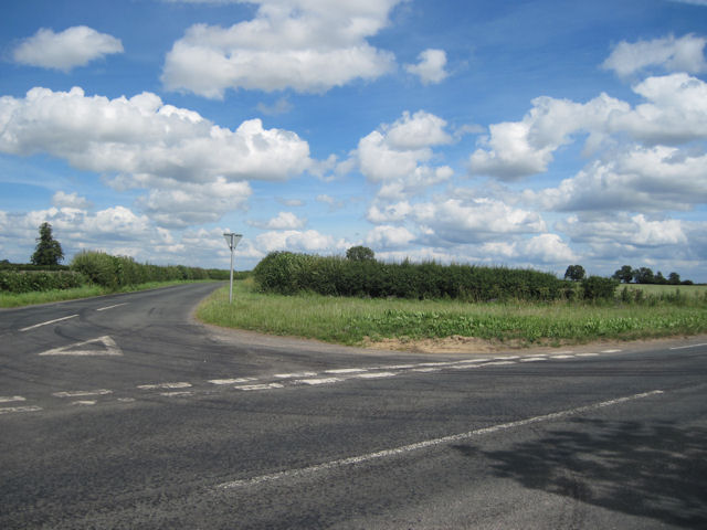 Road junction on B6285 just NW of Exelby