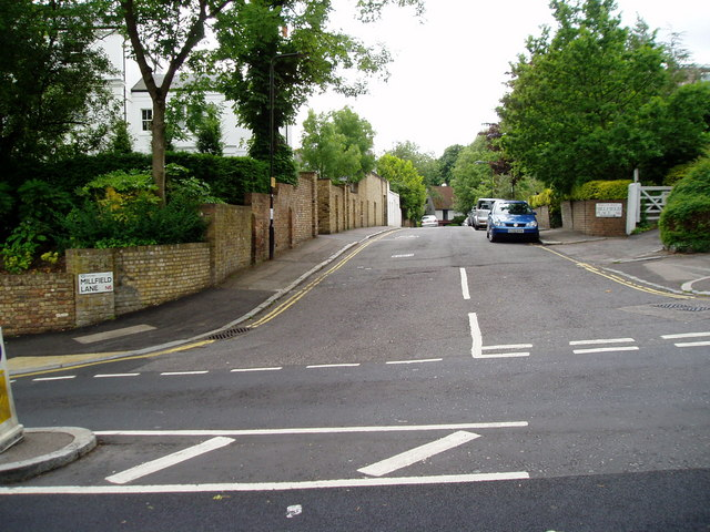 Millfield Lane at junction with Highgate West Hill