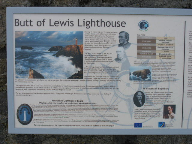 Butt of Lewis Lighthouse, information board