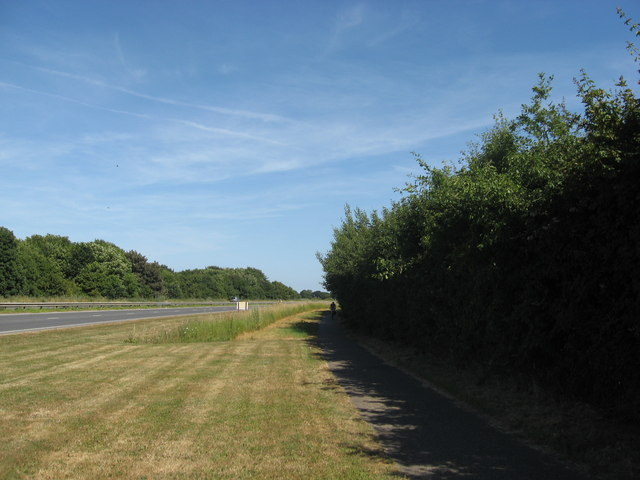 Cycle path beside the A259 Chichester to Bognor Regis road