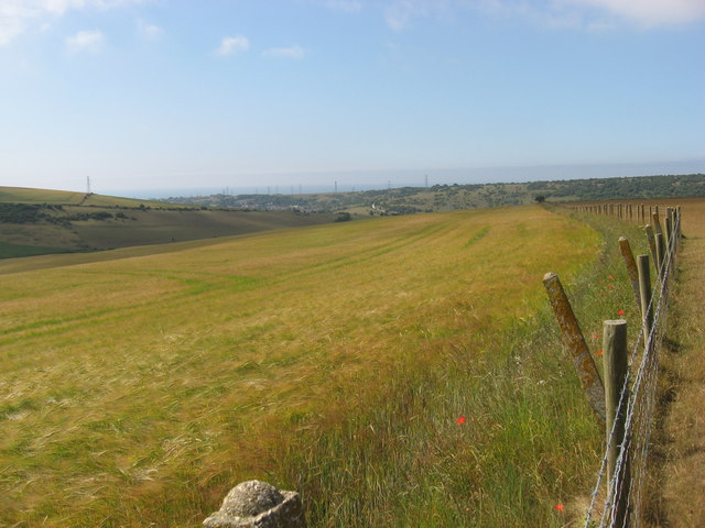 View SW from Tenant Hill over downland to Portslade in the distance