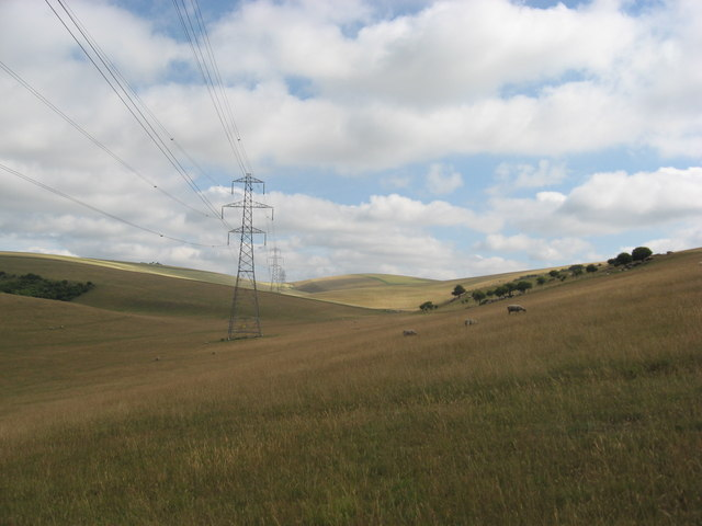 Downland valley with pylons and sheep