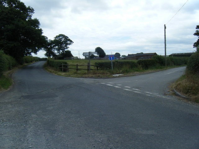 Mill Lane at junction to Hassall Moss farm