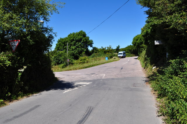 The road from Lee Cross meets the road from Slade to Lee at Lincombe