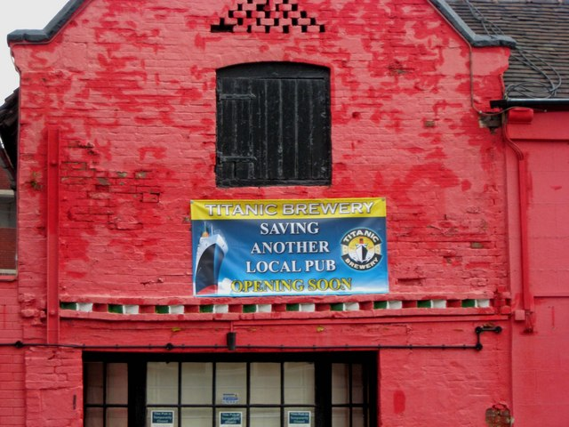 Titanic Brewery banner on the closed Tequila Red, 7 Litchfield Road